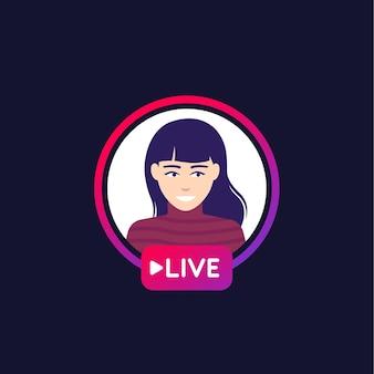 Livestream mit einem mädchen, vektor