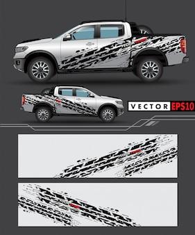 Lkw-abziehbildverpackungs-designvektor.