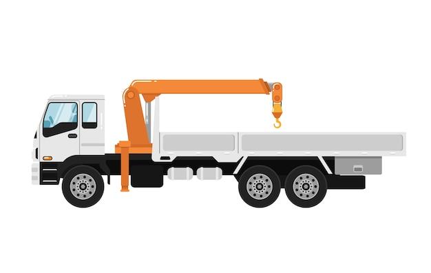 Lkw-angebrachter kran getrennt auf weiß