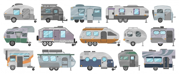 Lkw-anhänger isolierte karikatursatzikone. illustration camping van