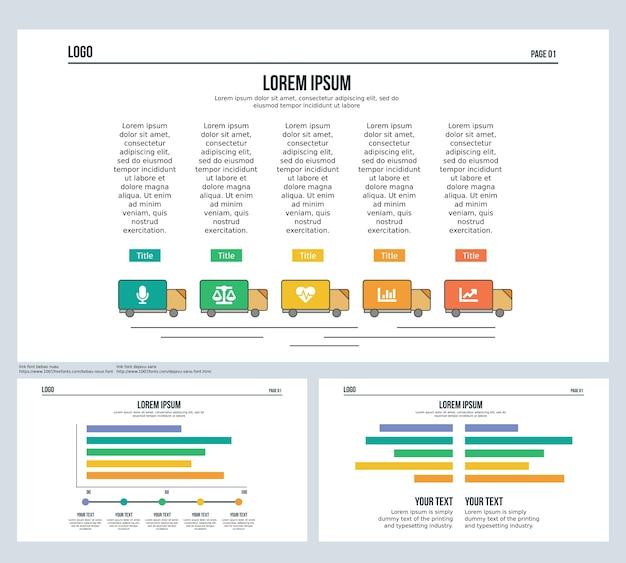 Lkw, bar, vergleich, set präsentationsfolie und powerpoint-vorlage