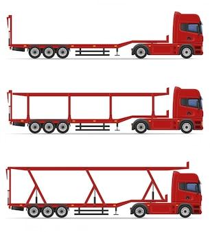 Lkw-halb anhänger für transport der autovektorillustration