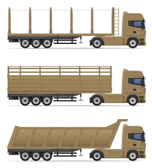 Lkw-halb anhänger für transport der warenvektorillustration