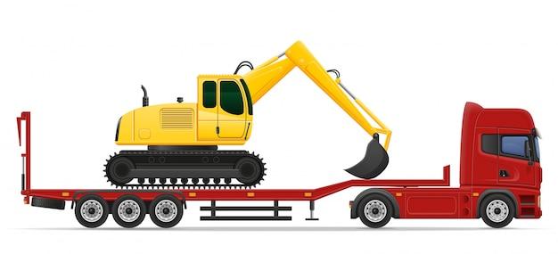 Lkw-halb anhängerlieferung und transport der baumaschinenkonzept-vektorillustration