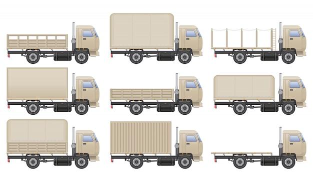 Lkw-illustrationssatz lokalisiert auf weiß. transportfahrzeug.