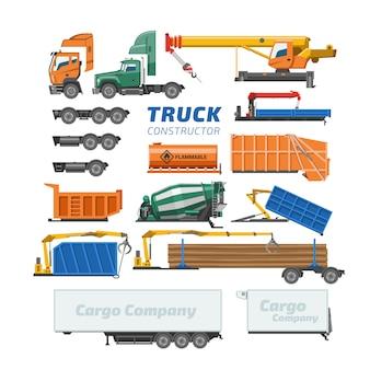 Lkw-konstruktor-vektorlieferfahrzeug- oder frachttransport- und lkw-bauillustrationssatz des betonmischer-lkw oder logistischen transports lokalisiert auf weißem hintergrund
