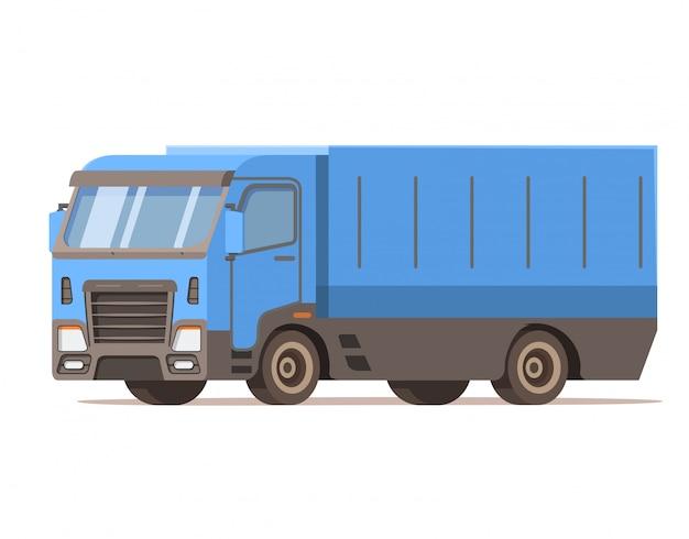 Lkw-liefercontainer. fahrzeug-symbol. lieferung und transport. versandlogistik. vorderansicht, seite.