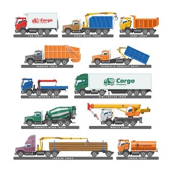 Lkw-lieferfahrzeug- oder frachttransport und lkw-transport mit anhängerillustration
