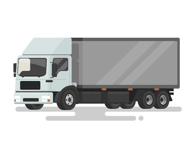 Lkw. lieferwagen auf weißem hintergrund. illustration