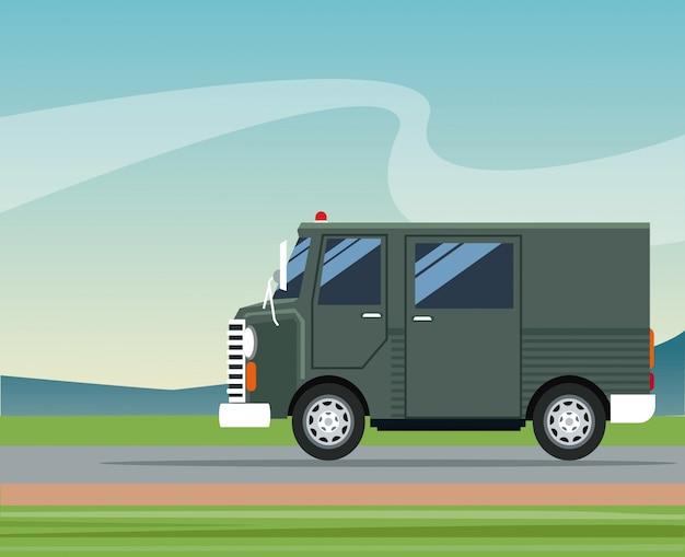 Lkw-lieferwagenverschiffenpostservice-landschaftshintergrund