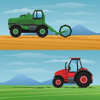 Lkw-maschine über landschaftsikone