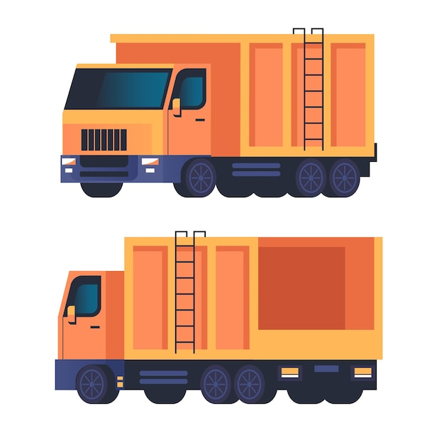 Lkw müllwagen maschine isoliert set.