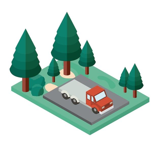 Lkw-parkplatz und bäume szene isometrische symbol
