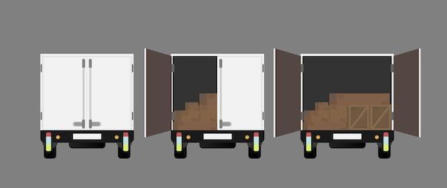Lkw-rückansicht. lkw öffnen. gestaltungselement zum thema transport und lieferung von waren. isoliert. .