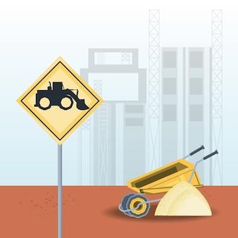 Lkw-symbol und schubkarre mit sandhaufen