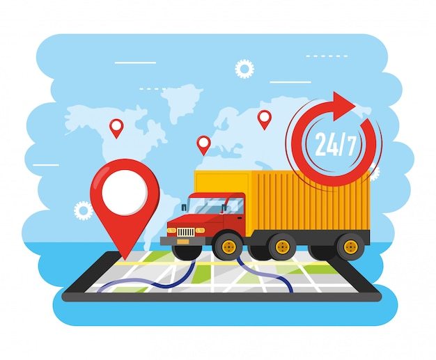 Lkw-transport mit smartphone gps-standort