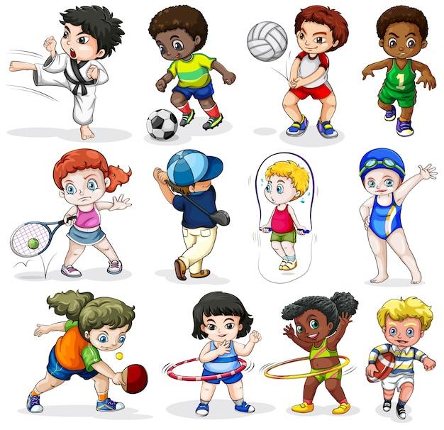 Lllustration der kinder, die sich in verschiedenen sportlichen aktivitäten auf einem weißen hintergrund