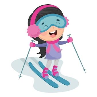 Llustration kid skifahren