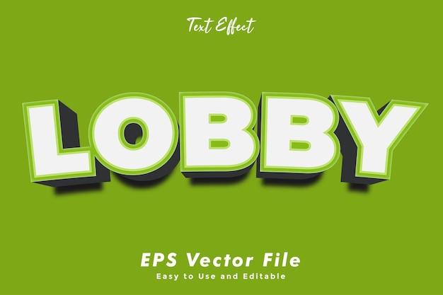 Lobby-texteffekt bearbeitbar und benutzerfreundlicher typografieeffekt