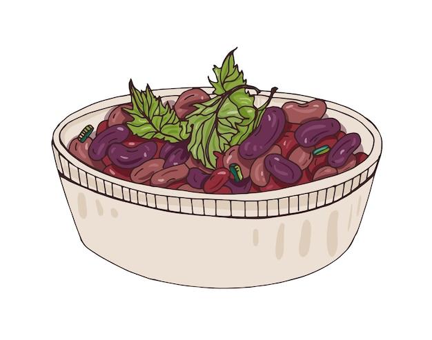 Lobio in schüssel mit koriander verziert. leckeres vegetarisches georgianisches essen aus gedünsteten bohnen. leckeres gemüsegericht der kaukasischen küche
