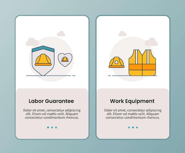 Lobour-garantiekampagne für arbeitsmittel für das onboarding mobiler apps anwendungsvorlage