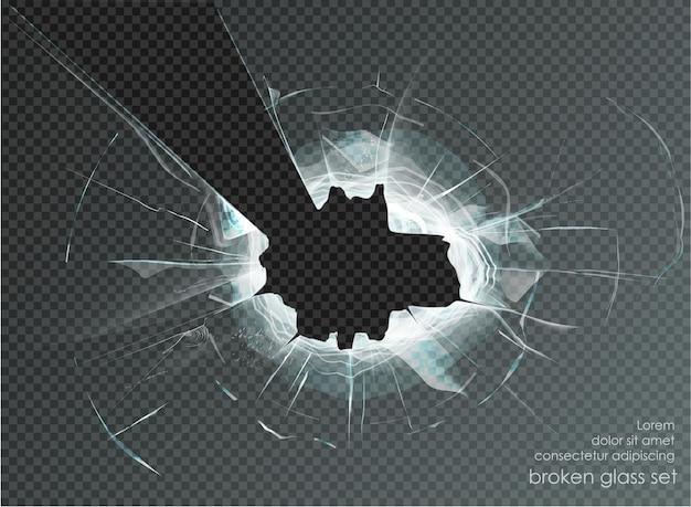 Loch zerbrochenes glas auf transparentem hintergrund. vektor-illustration
