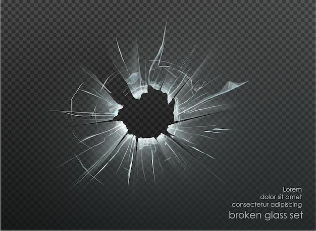 Loch zerbrochenes glas auf transparentem hintergrund