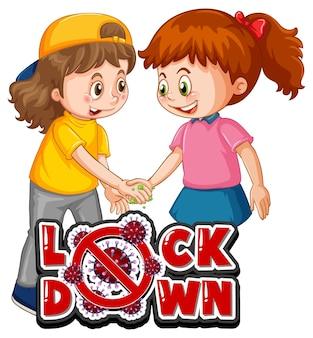 Lock-down-schrift im cartoon-stil mit zwei kindern hält keine soziale distanz isoliert auf weißem hintergrund Kostenlosen Vektoren