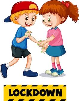Lockdown-poster zwei kinder-cartoon-figur hält keine soziale distanz ein