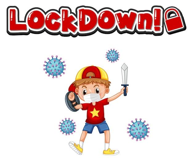 Lockdown-schriftdesign mit einem jungen, der eine medizinische maske auf weißem hintergrund trägt