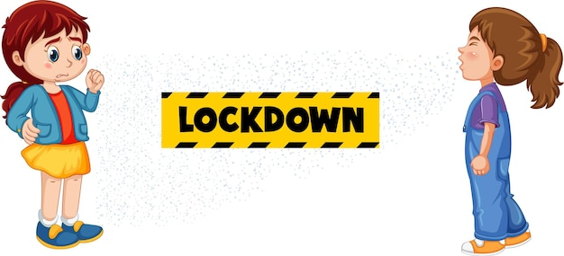 Lockdown-schriftdesign mit einem mädchen, das ihre freundin ansieht, die auf weißem hintergrund niest