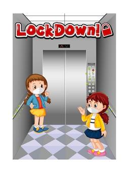 Lockdown-schriftdesign mit personen, die im aufzug abstand halten
