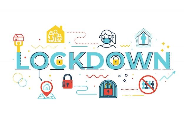 Lockdown-wortbeschriftungsillustration