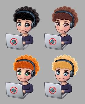 Lockige männer mit kopfhörern und laptop arbeiten zu hause