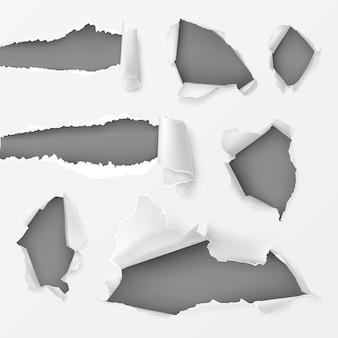 Löcher und lücken im weißen hintergrund