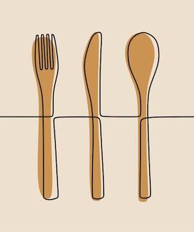 Löffel, gabel, messer essen einzeilige durchgehende strichzeichnungen