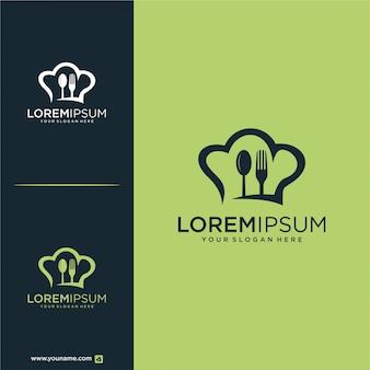 Löffel gabel und hut chef logo design essen