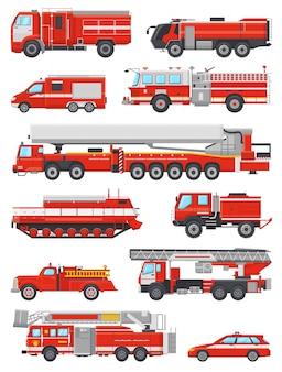 Löschfahrzeugvektor-feuerbekämpfungsnotfahrzeug oder roter feuerwehrauto mit dem firehose- und leiterillustrationssatz des feuerwehrmannautos oder des löschfahrzeugtransportes lokalisiert
