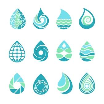 Löscht logos. farbiges wasseraqua spritzt natursymbole flüssige lebensmittel- und ölschablonensymbole von tropfen für etiketten.