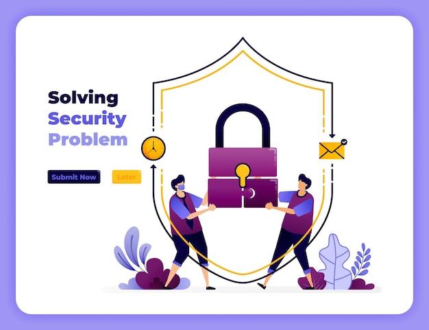Lösen sie digitale sicherheitsprobleme mit der besten zusammenarbeit und handhabung.