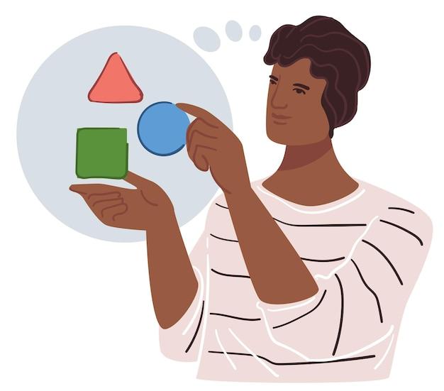 Lösen von problemen und brainstorming männlicher charaktere