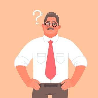 Lösung des problems oder der wahl. ein geschäftsmann oder unternehmer denkt nach. fragezeichen.