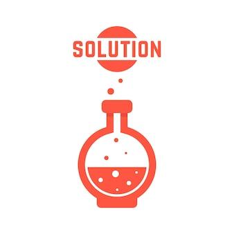 Lösung mit roter laborflasche. konzept der kreativität, materialsynthese, prozess, assay, gift, chemiker, industrie. isoliert auf weißem hintergrund. flacher stiltrend moderne logo-design-vektor-illustration