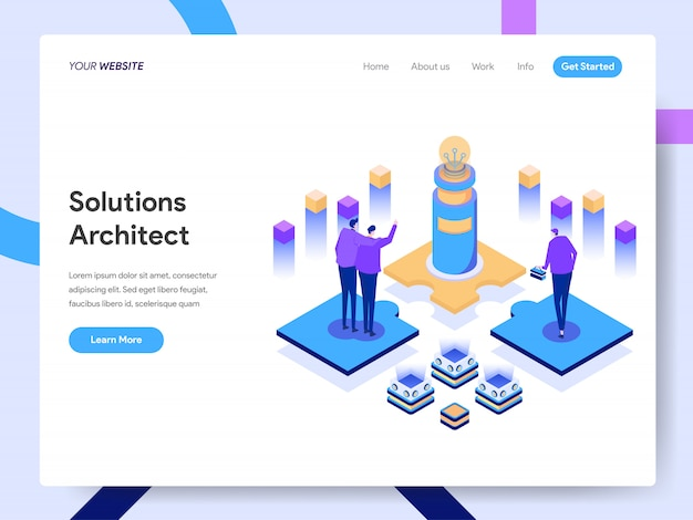 Lösungs-architekten-isometrische illustration für websiteseite