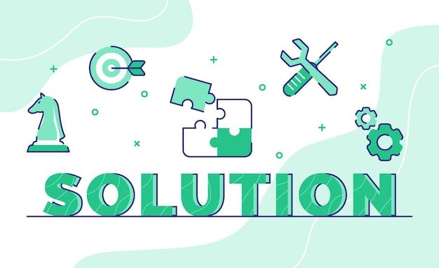 Lösungs-typografie-wortkunsthintergrund des symbolschachpfeil-puzzle-schraubenschlüssel-schraubendreher-zahnrads mit umrissstil