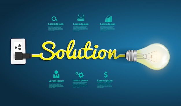 Lösungskonzept, moderne designvorlage, kreative glühbirnenidee
