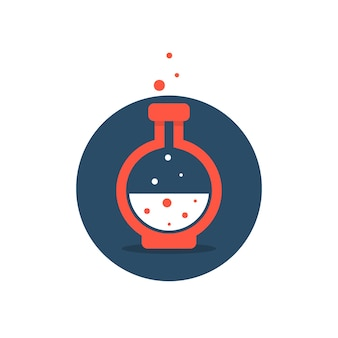 Lösungssymbol mit roter laborflasche. konzept der säure, trank, alchemie, innovation, giftige blasen, becher, werkzeug. flacher stil trend moderne firmenlogo-design-vektor-illustration auf weißem hintergrund
