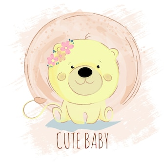 Löwe-baby-frühlings-karikatur-waldtiervektor
