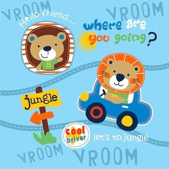 Löwe, der ein auto fährt