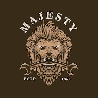 Löwe, der eine schraubenschlüssel-weinleseillustration hält